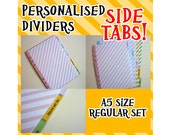 SIZE:A5 (Side Tabs/Regular Set) Personalised Dividers Cute Kawaii Custom Made For Filofax