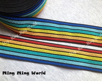 2 Yrads Colorful Style Elastic Trim for Custom Gift, Altered Couture, Home Decor,Waistband