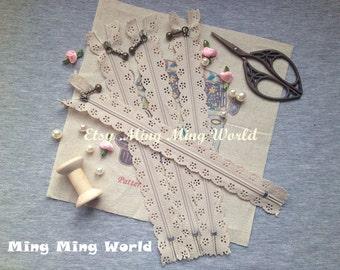 5 PCS Khaki Lace Zippers Supplies Trim, Fabric Crafts Alterations Supplies Handmade Fabric Supplies(Z2)