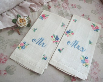 Vintage Pair Embroidered Guest Towel His & Hers Mr and Mrs Husband Wife Wedding Gift Idea M57