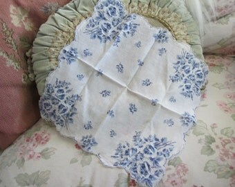 Vintage Hankie Printed Blue Roses With Ornate Embroidered White Rope Ribbon Applique Scalloped