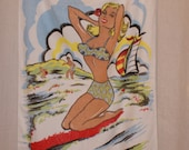 Great fun vintage 1950s beach towel pinup girl deadstock unused Rockabilly Viva VLV