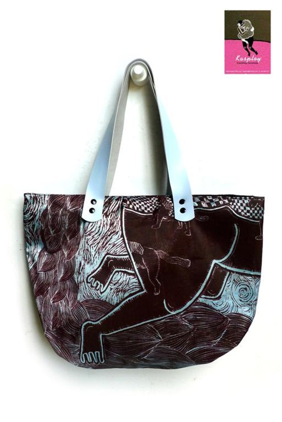 Bag Tote ( Handmade printed woodblock ) in Reverie of Happiness, Kasploy k7