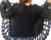 Black Sunflower Cardigan  Shrug   Bicolor Vest Woman Hand Crocheted CircleCardigan NEW