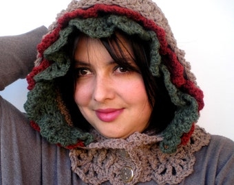 Street Flower Hood Cowl Super Soft Mixed Wool Crocheted Hooded Fashion  Cowl Woman Hood NEW