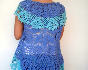 Mandala Fashion Shrug   Cotton Double Blue Vest Woman Hand Crocheted Circle shrug NEW
