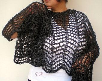 Black  Lace  Warp Stole Cotton  Wrap Scarf Hand Knit  Shoulder Wrap Woman Elegant Stole  NEW