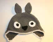 Crochet Totoro Hat / Grey Crochet Earflap Hat Character Inspired / Handmade Totoro Beanie Sizes Newborn Baby Kids Toddler Teen Adult