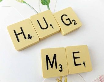 Scrabble Fridge Magnets, HUG ME, Upcycled Scrabble tiles, Eco-friendly, Gift for Scrabble geek, geekery
