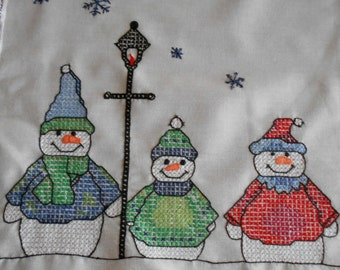 "Snowmen Hand embroidered Snowman table runner Mantel scarf buffet cloth 43"" X 15"" Winter decor home decor Snowflakes Cross stitched"