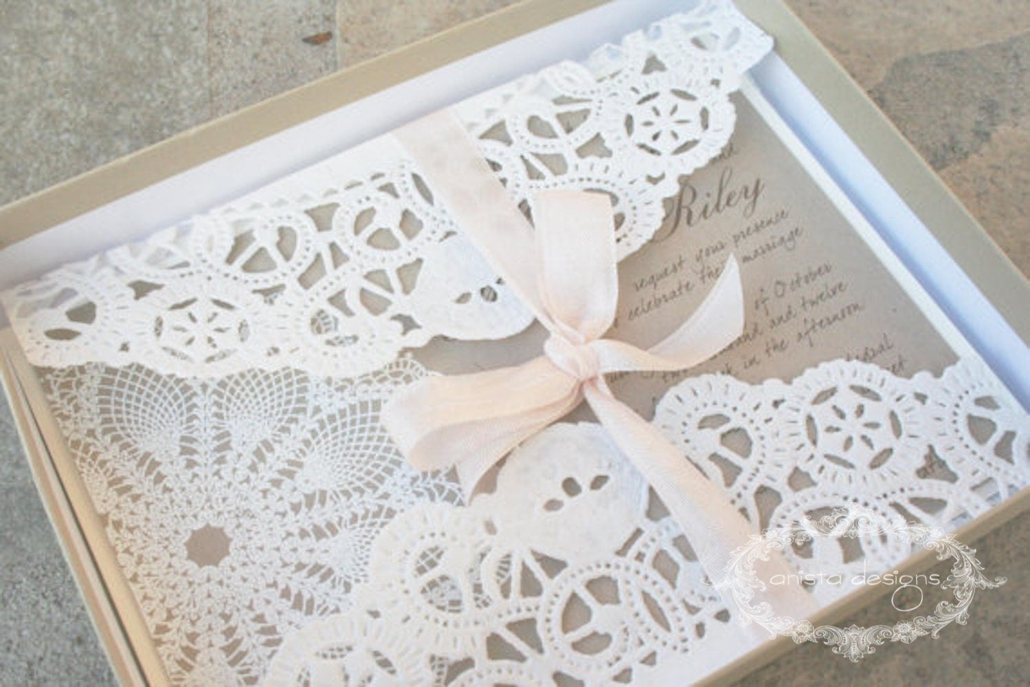 Lace Wedding Invitation: SALE: Vintage Lace Wedding Invitation Lace Doily Featured