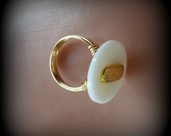 Large White Vintage Button Wire Wrapped Ring - White and Gold Ring