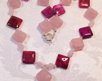 Rose Quartz and hot Pink Crazy Lace Agate Necklace - womans OOAK diamond shaped crystal beaded jewelry
