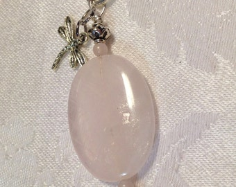 ROSE QUARTZ and Crystal - Charm Pendant Key chain - Purse Necklace Rear view mirror Suncatcher - Healing Jewelry REIKI Infused - love pink