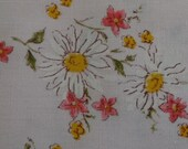 Vintage Fabric Calico Floral Pale Pink with White Daisy and Hot Pink Floral 1 Yard Plus