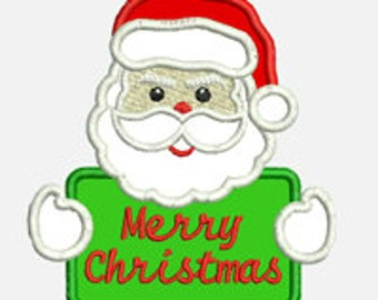 Santa Merry Christmas ...Embroidery Applique Design...Three sizes for multiple hoops..Nine Formats Included...Item1589