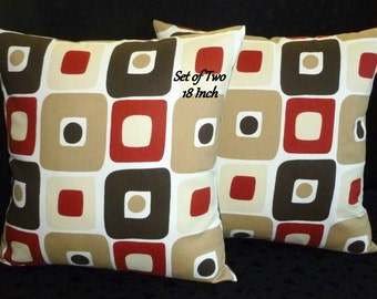 Decorative Pillows, Accent Pillows, Throw Pillows, Pillow Covers - Set of Two 18 Inch - Brown, Tan and Rust