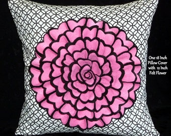 Decorative Felt Flower Pillow, Accent Pillow,Throw Flower Pillow Cover - Fuchsia and Black Flower on Black and White Pillow