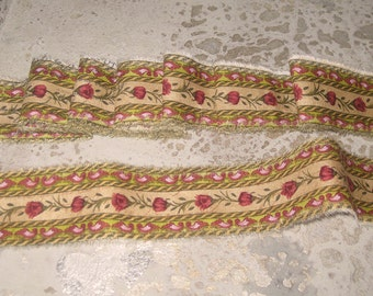 Limited Edition Cotton Floral Hand Distressed Ribbon Limited Edition From Paris France ECS