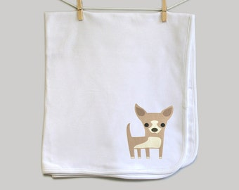 Chihuahua baby blanket. Super soft 100% cotton.