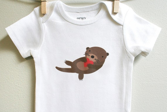 Valentines baby clothes otter Long or by squarepaisleydesign