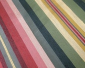"""56"""" Wide Vintage Upholstery Fabric Green Red Gold Yellow Pink Maroon Stripes for Draperies Window Treatments Chair Cushions Ottomans ST"""