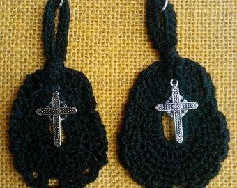Black Crochet Cross Mourning Earrings