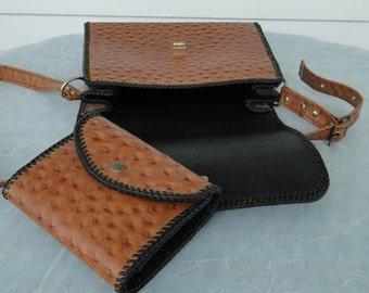 Matching Purse & Wallet Set Vintage Faux Ostrich Leather **Treasury List Item**