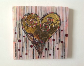 Pink with Gold Heart Mosaic Wall Panel/ Wall Decor