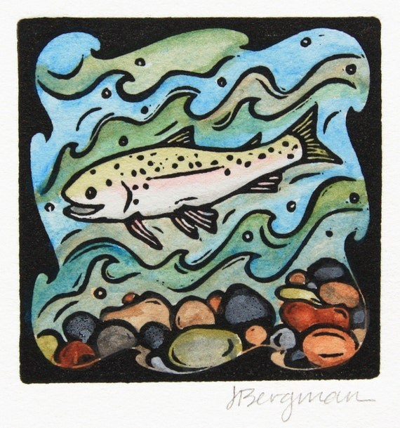 Trout, linocut with watercolor