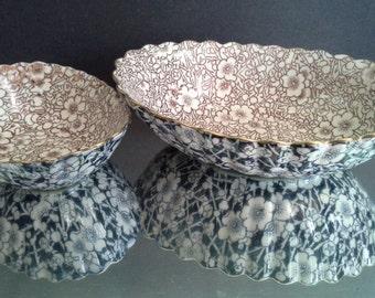 Two Early Burslem Doulton Floral Sheet Print Transfer Bowls Pattern a5526