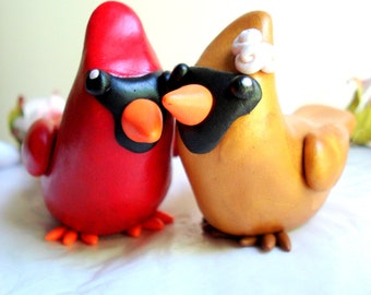Cardinal Wedding Cake Topper Birds Mr and Mrs Cardinal Cake Topper Keepsake