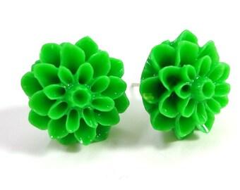 Green Chrysanthemums Flower Earring Posts
