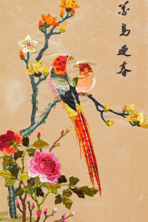 sale 50 off vintage japanese silk embroidered birds painting