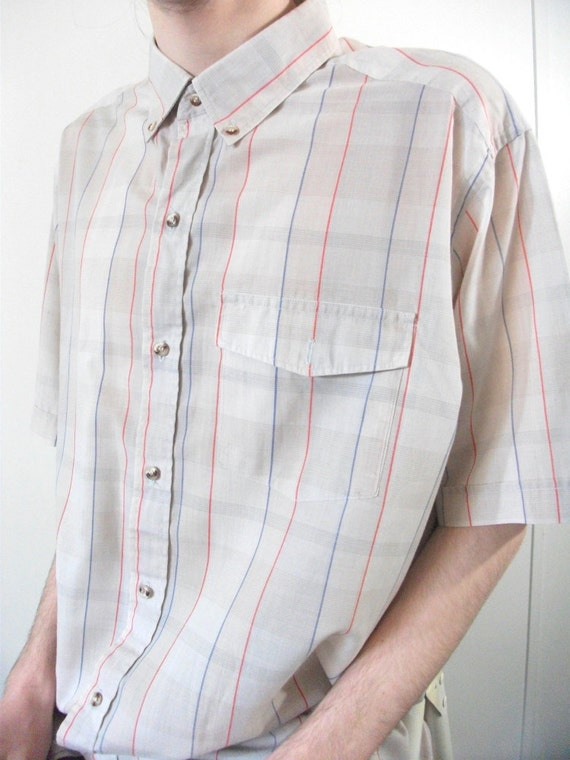 Vintage Mens Shirt Size Large Extra Long Tall Blue By