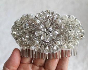 Bridal beaded pearl & crystal luxury headpiece. Rhinestone applique wedding hair comb. DUCHESS PETITE.