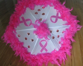 Breast Cancer Awareness- Komen Ribbon Umbrella- Second Line, Outdoor Shade, Auctions- Hand painted custom umbrella