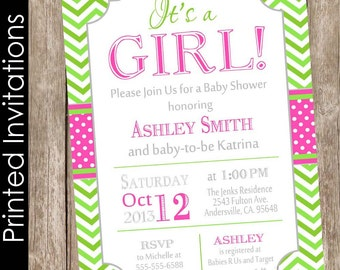 PRINTED It's a girl baby shower invitation, hot pink and lime, typography, chevron(FREE ENVELOPES)