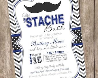 Chevron Stache Bash Baby Shower Invitation, mustache invitation, little man invitation, mustache, black, gray, navy printable invitation