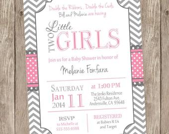 Twin Girls Baby Shower Invitation, chevron twins invitation, twins invitation, two little girls, pink and gray, printable invitation TG01
