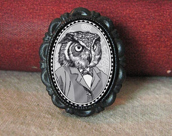 owl brooch - victorian style cameo - black and white portrait