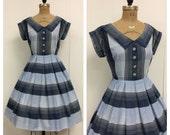 1950s Dress Cotton Plaid 50s Blue