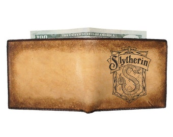 Mens Leather Wallet - Bifold Wallet - Personalized Wallet - Harry Potter Slytherin