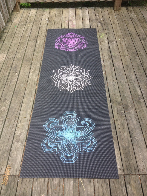 Sacred Geometry Mandala Chakra Yoga Mat Hand By Luminousflower