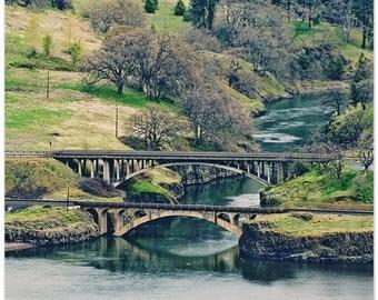 Bridge photography, Klickitat, Washington, Columbia River view to bridge, 13x19 fine art print