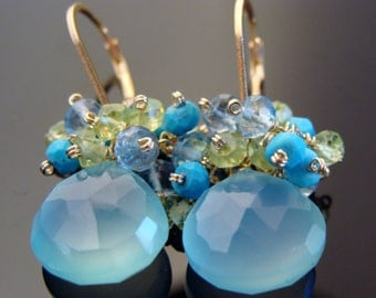 Sky Blue Chalcedony Cluster Leverback 14K Gold Filled Earrings