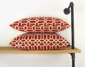 SALE - Geometric Outdoor Pillow Case in Brick Red and Cream Beige, 18x18 Accent Throw Pillow - Outdoor Porch, Patio & Garden Cushion Cover
