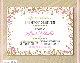 Pink and Gold Confetti Invitation - Printable Invitation Design
