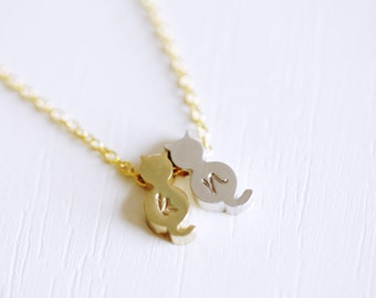 2 Cat Initial Necklace, Two Cat Monogram Necklace, 2 Lowercase Monogram Necklace, Personalized Cat Necklace, Cat Lover, 2 Cats, Silver, Gold