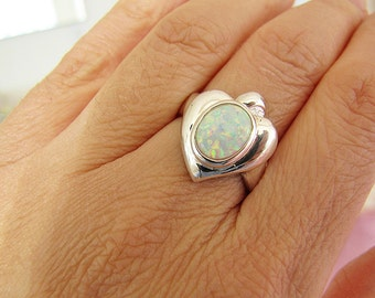 Vintage Oval Opal Sterling silver heart ring, size 8